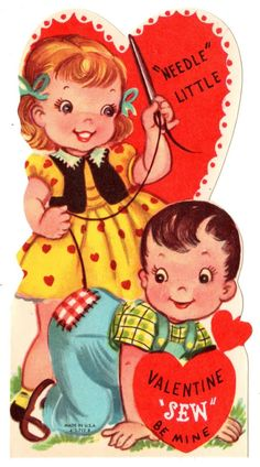 "Girl Sewing Boys Pants Says ""Needle Little Valentine Sew Be Mine"" Vintage Card 