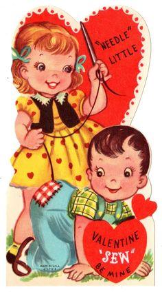 "Girl Sewing Boys Pants Says ""Needle Little Valentine Sew Be Mine"" Vintage Card | eBay"