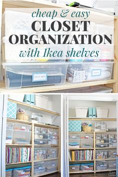 Cheap & Easy Closet Organization with Ikea Ivar Shelves is part of Simple Closet Organization - It's too easy to organize your closet with these cheap Ikea shelves! This simple closet organization system doesn't require any special tools or assembly! Ikea Organisation, Craft Closet Organization, Ikea Closet Organizer, Organization Ideas, Organize Craft Closet, Cheap Closet, Simple Closet, Closet Office, Kid Closet