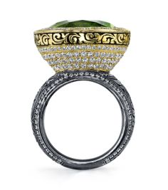 Organic Silver and 18 Karat Yellow Gold Peridot Cone Ring, accented with Diamonds