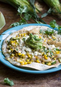 Chicken Tostada with Corn Zucchini and Avocado Lime Salsa. Oven-toasted, not…