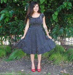 1X,2X,3X Womens Plus Size Dress Black Polka Dot Rockabilly,Pin Up,Retro style | eBay