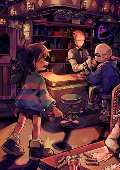 Frisk, Grillby, and Sans, from Undertale