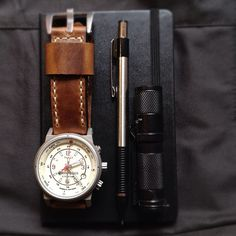 time brown vintage handmade watch strap edc by Bas and Lokes Handmade Watch Straps and Leather