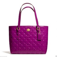 NWT COACH F50540 PASSION Berry Peyton Op Art Embossed Patent Leather HANDBAG