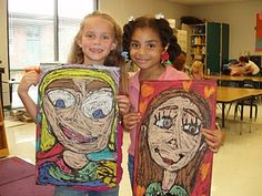 portraits - dried glue lines on black paper with chalk pastels... first grade