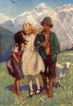 """""""Heidi"""" by Johanna Spyri. Illustrated by Jessie Wilcox-Smith, 1922"""