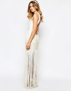 A Star Is Born Bridal Luxe Embellished Maxi Dress With Fringe Skirt at ASOS. Fringe Skirt, A Star Is Born, Fashion Online, Bridal, Stars, Wedding Dresses, Shopping, Beaded Dresses, Bangs