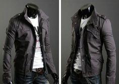 Mens Military Rider Jacket Slim Fit Zip Button Hoody Coat
