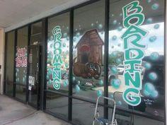 Dog grooming and boarding window art work PaintSlingers.biz