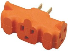 Axis - 3-Outlet Heavy-Duty Grounding Adapter (Orange) Case Pack 8