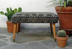 Mid Century Modern Footstool with Black & by territoryhardgoods