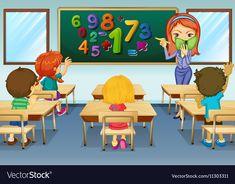 Math teacher teaching in classroom vector image on VectorStock Classroom Labels, School Classroom, Preschool Lessons, Preschool Math, Art Wall Kids, Art For Kids, Animated Teacher, Community Places, Animation Schools