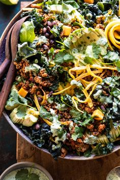 Spicy Turkey Taco Salad with Baja Lime Dressing Puten-Taco-Salat mit Baja-Dressing Gourmet Recipes, Mexican Food Recipes, Cooking Recipes, Healthy Recipes, Ethnic Recipes, Gourmet Salad, Cheap Recipes, Cooking Tips, Macaroni Salad