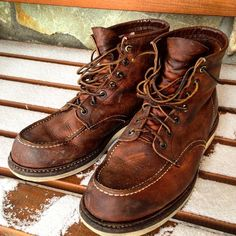 """Red Wing Heritage 1907 - 5 years and still going strong. (paikassa Tahko) ""denimetc: ""Red Wing Heritage 1907 - 5 years and still going strong. Red Wing Boots, Red Wing Heritage Boots, Red Wing Moc Toe, Irish Setter, Wedge Boots, Shoe Boots, Man Boots, Tan Leather, Leather Boots"