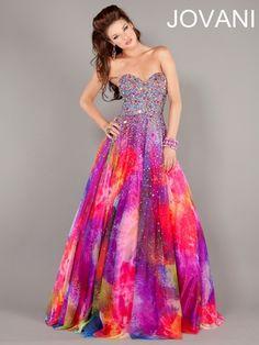 Iridescent Sequin Bodice Prom Ball Gown Jovani 6757: DressProm.net