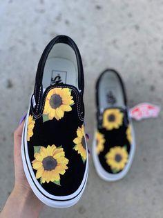 Sunflower Shoes Summer Shoes Custom Vans Shoes Vans Custom Shoes Custom Sneakers Slip On Vans Vans Noir, Converse Noir, Custom Vans Shoes, Custom Sneakers, Vans Slip On Shoes, Vans Sneakers, Adidas Shoes, White Sneakers, Vans Shoes Fashion