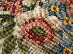 "Gorgeous Vtg 27"" PREWORKED Needlepoint Canvas Antique Blue Jacobean Flowers Big | eBay"