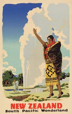Check out NZ - South Pacific Wonderland by Marcus King at New Zealand Fine Prints 1950s Posters, Vintage Travel Posters, Vintage Ski, Vintage Type, Poster Vintage, Vintage Stuff, Tourism Poster, Nz Art, Maori Art