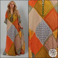 vintage 70s gauze BOHEMIAN patchwork CAFTAN Maxi Dress Hippie boho deep-V gypsy | eBay