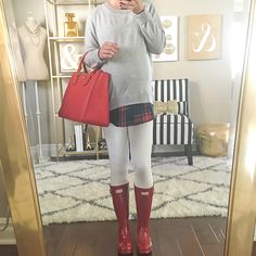StylishPetite.com | Goodnight Macaroon heather grey plaid sweater, Red Hunter Boots big kids, Tory Burch pebbled red Robinson Tote - click on the photo for full outfit and home decor details!