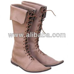 Medieval mens high boots front lace