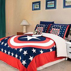 Dream Home Super Hero Captain America Bedsheet Style Bedding Sets, Queen, http://www.amazon.com/dp/B00R4ULPQC/ref=cm_sw_r_pi_awdm_bCkHvb1BBN1ZX