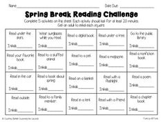 Encourage your students to read over spring break with this fun challenge. Students will complete five activities for the challenge and return it to school. I always reward my students who complete the challenge with a special treat or reward.