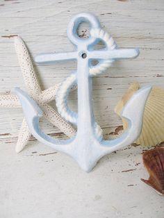 Anchor wall hook blue white sea ocean metal by SeamariesBounty, $12.99