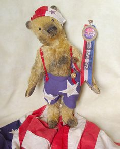 "18"" mohair Americana bear. Brady Bears Studio."
