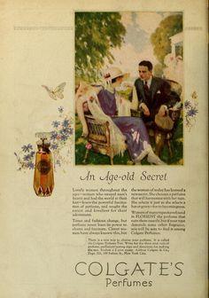 Colgate perfume 1924 Perfume Ad, Vintage Perfume, Vintage Advertisements, Vintage Ads, Advertising History, Old Ads, Graphic Design Art, Print Ads, Vintage Beauty