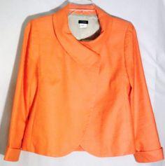 J.CREW Peachy Orange Textured Cotton/Linen Jacket/Blazer -Asymmetrical Front - 6 #JCrew #JacketBlazer #jacket #blazer #peach #orange #cotton #linen #6