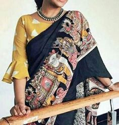 Silk Saree Blouse Designs - Boat Neck And Balloon Sleeves Blouse Latest Saree Blouse, Latest Silk Sarees, Boat Neck Saree Blouse, Frill Blouse, Embroidered Blouse, Simple Blouse Designs, Blouse Neck Designs, Blouse Designs Catalogue, Blouse Designs Latest 2017