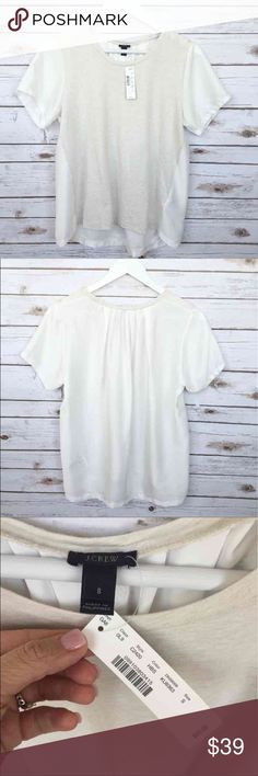 """NWT J.Crew Silky Knit T-Shirt NWT J.Crew Silky Knit T-Shirt Small Oversized style Hi-lo Length 24"""" Retail $55 The front is cotton and the back is polyester  Thank you for looking and please check out the rest of my closet. J. Crew Tops Blouses"""