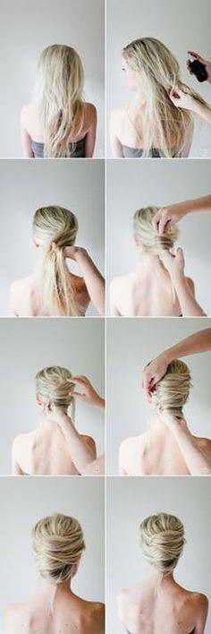 Recogido sencillo con volumen, cabello largo.