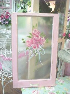 Window Hand Painted Roses...Beautiful Shabby Old Window...RoSeS RoSeS RoSeS...Shabby Chic
