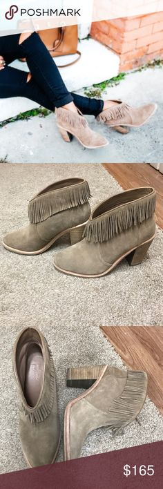 Joie Loren Fringe Bootie Fine fringe lines this curved top Bootie with a stacked block heel. 70's inspires style. Almond shaped toe. Runs small, these are a 7.5 but fit like a 7. Worn twice. No wear on soles! Joie Shoes Ankle Boots & Booties
