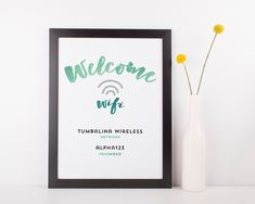 """Printable Wifi Password   Instant Download   Watercolor Blue   8.x10"""" and 5x7""""   No. WIFI-01"""