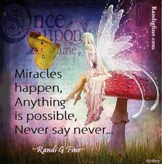Once upon a time, Miracles happen, Anything is possible, Never say never.  Randi G Fine