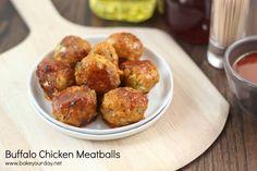 Buffalo chicken meatballs from Bake Your Day Blue Cheese/Buffalo Sauce