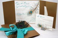 Invitaciones de la boda del pavo real
