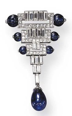 AN ART DECO SAPPHIRE AND DIAMOND BROOCH, BY BOUCHERON. Set with a drop-shaped sapphire bead, suspended by baguette-cut diamonds from a tapering single and baguette-cut diamond openwork geometric motif panels, each enhanced by fluted sapphire bead terminals, mounted in platinum and 18K gold, circa 1925, with French assay marks, signed Boucheron, Paris. #ArtDeco #Boucheron #brooch