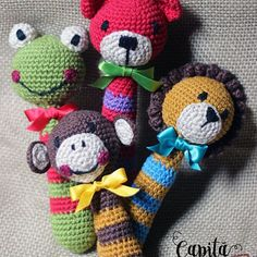 Colourfull crochet rattle toys! Amigurumi! Capitã Gancho Crochê @capitaganchocroche Instagram photos | Websta