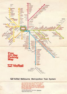 VicRail network map of - early with Port Melbourne and St Kilda lines (closed Transport Map, Public Transport, Train Map, Australian Vintage, Train System, Melbourne Victoria, St Kilda, Croydon, Historical Maps
