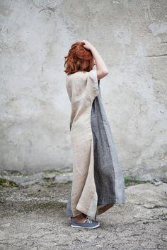 Linen Kimono Dress / Women's Clothing / Women's Linen Dress / Grey Beige Dress