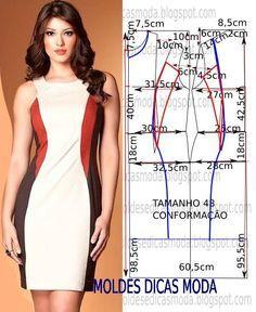 Passo a passo molde de vestido, com medidas tamanho 48. As medidas facilitam que não pode imprimir o molde.