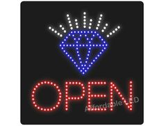 "L6000 - Open Diamond LED Sign (Size 16""H X 16""L X 1""D) Led Open Sign, Open Signs, Sign Solutions, How To Attract Customers, Size 16, Diamond, Diamonds"