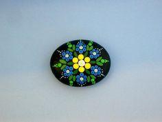 Mandala stones-painted rocks-blue yellow flower-ooak 3D dot