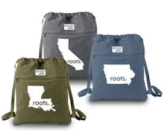 All States Roots. Canvas Backpack Cinch by SevenMilesPerSecond,