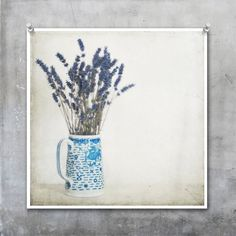 Lavender in Blue and White Jug shabby chic French country by Eyeshoot Photograph. available of Etsy